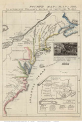 1692 Fourth Map of the United States - 1829 - Colony Boundaries - King Phillips War Places - Emma Willard - USA Atlases