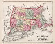 Plan of Massachusetts, Rhode Island, and Connecticut 1873 - Hampshire County Atlas