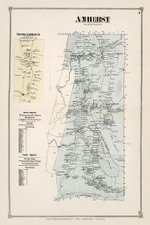 Amherst, Massachusetts 1873 Old Town Map Reprint - Hampshire Co.