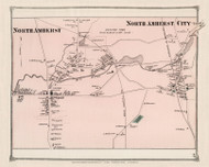 North Amherst Village and North Amherst City, Massachusetts 1873 Old Town Map Reprint - Hampshire Co.