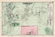 Amherst Center, Massachusetts 1873 Old Town Map Reprint - Hampshire Co.