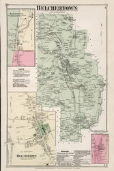 Belchertown, Massachusetts 1873 Old Town Map Reprint - Hampshire Co.