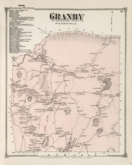Granby, Massachusetts 1873 Old Town Map Reprint - Hampshire Co.