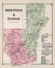 Greenwich & Enfield, Massachusetts 1873 Old Town Map Reprint - Hampshire Co.