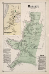 Hadley, Massachusetts 1873 Old Town Map Reprint - Hampshire Co.
