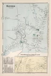 Hatfield Village, Massachusetts 1873 Old Town Map Reprint - Hampshire Co.