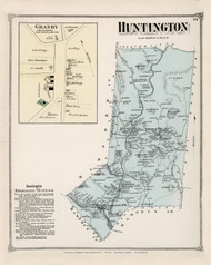 Huntington, Massachusetts 1873 Old Town Map Reprint - Hampshire Co.
