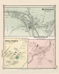 Huntington Village, Greenwich and Greenwich Village, Massachusetts 1873 Old Town Map Reprint - Hampshire Co.