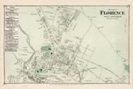 North Florence - Northampton, Massachusetts 1873 Old Town Map Reprint - Hampshire Co.