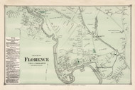 South Florence - Northampton, Massachusetts 1873 Old Town Map Reprint - Hampshire Co.