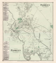 North and South Florence - Northampton Custom, Massachusetts 1873 Old Town Map Reprint - Hampshire Co.
