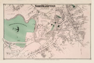 Northampton Village North and South Custom, Massachusetts 1873 Old Town Map Reprint - Hampshire Co.