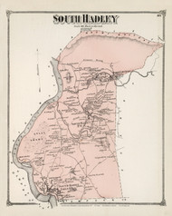 South Hadley, Massachusetts 1873 Old Town Map Reprint - Hampshire Co.