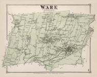 Ware, Massachusetts 1873 Old Town Map Reprint - Hampshire Co.