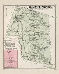 Worthington, Massachusetts 1873 Old Town Map Reprint - Hampshire Co.