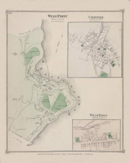 Highland West Point Unionville WestTown, New York 1875 - Old Town Map Reprint - Orange Co. Atlas