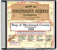 Map of Merrimac County, New Hampshire, 1858, CDROM Old Map