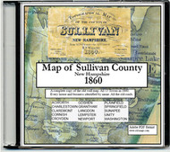 Topographical Map of the County of Sullivan, New Hampshire, 1860, CDROM Old Map