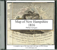 Carrigain Map of New Hampshire, 1816, CDROM Old Map