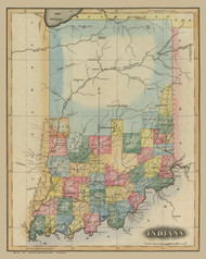 Indiana 1823 Lucas - Old State Map Reprint