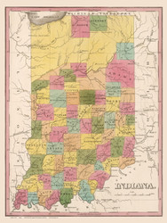 Indiana 1836 Finley - Old State Map Reprint