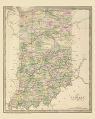 Indiana 1848 Greenleaf - Old State Map Reprint