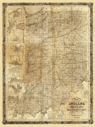 Indiana 1852 J H Colton - Old State Map Reprint