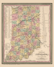 Indiana 1853 Mitchell - Old State Map Reprint