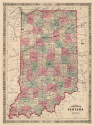 Indiana 1864 Johnson - Old State Map Reprint