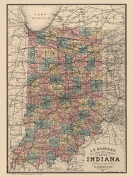 Indiana 1886 J. T. Barker - Old State Map Reprint