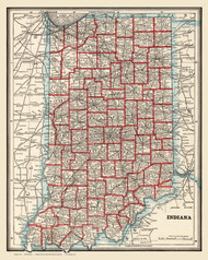 Indiana 1893 Wood Brothers - Old State Map Reprint