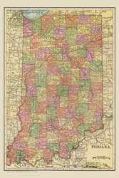 Indiana 1909 Davis - Old State Map Reprint