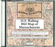 H.F. Walling Map of Massachusetts, 1861, CDROM Old Map