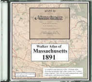 Walker Atlas of Massachusetts, 1891, CDROM Old Map