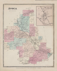 Avoca Wallace, New York 1873 - Old Town Map Reprint - Steuben Co. Atlas