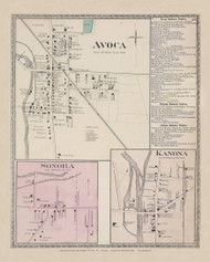Avoca Sonora Kanoa, New York 1873 - Old Town Map Reprint - Steuben Co. Atlas