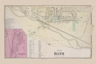 Bath South Bath, New York 1873 - Old Town Map Reprint - Steuben Co. Atlas
