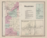 Bradford South Bradford, New York 1873 - Old Town Map Reprint - Steuben Co. Atlas