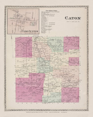 Caton Caton Village, New York 1873 - Old Town Map Reprint - Steuben Co. Atlas