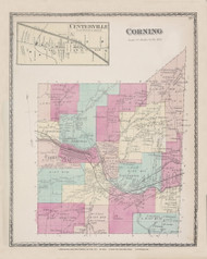 Corning, New York 1873 - Old Town Map Reprint - Steuben Co. Atlas