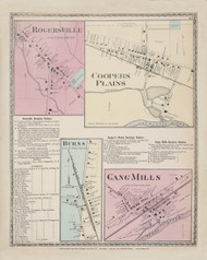 Dansville Rogersville Coopers Plains Burns  Gang Mills, New York 1873 - Old Town Map Reprint - Steuben Co. Atlas