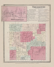Thurston Merchantville, New York 1873 - Old Town Map Reprint - Steuben Co. Atlas