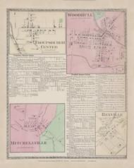 Troupsburgh Troupsburgh Center Woodhull Mitchellville Rexville, New York 1873 - Old Town Map Reprint - Steuben Co. Atlas