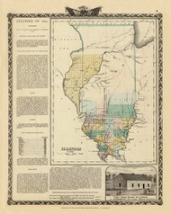 State of Illinois in 1822, 1876 Illinois - Old Map Reprint - Warner & Beers Illinois State Atlas