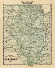 Railroad Map of Illinois, 1876 Illinois - Old Map Reprint - Warner & Beers Illinois State Atlas