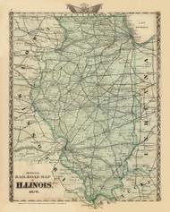 Railroad Map of Illinois, 1876 Illinois - Old Map Reprint - Warner & Beers Illinois State Atlas