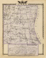 Lake County, 1876 Illinois - Old Map Reprint - Warner & Beers Illinois State Atlas
