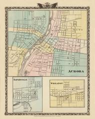 Aurora, Napierville & Wheaton Cities, 1876 Illinois - Old Map Reprint - Warner & Beers Illinois State Atlas