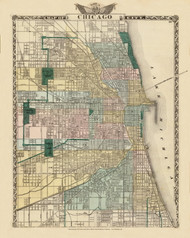 Chicago City, 1876 Illinois - Old Map Reprint - Warner & Beers Illinois State Atlas