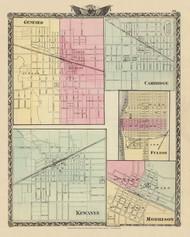 Geneseo, Cambridge, Fulton, Kewanee & Morrison Cities, 1876 Illinois - Old Map Reprint - Warner & Beers Illinois State Atlas